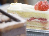 ショコラの背景にイチゴのケーキが写る写真